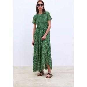 Zara green floral maxi dress size small